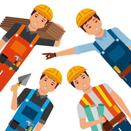 construction workers wearing yellow helmet differents uniform and tools vector illustration