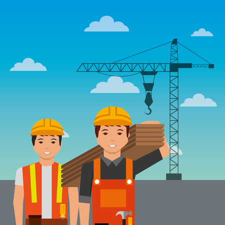 Construction workers holding wooden crane on sky background vector illustration
