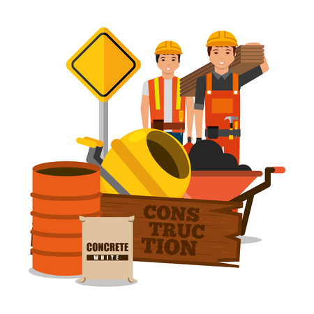 Construction workers wooden barrel sack concrete mixer sing road vector illustration