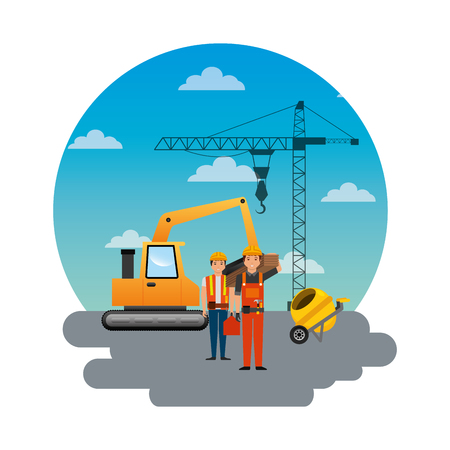 Construction workers loading machine mixer concrete crane round sky design vector illustration