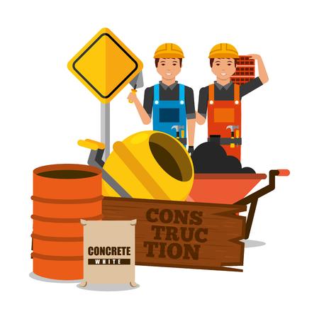 construction workers wooden board barrel mixer concrete barrel sack and brick vector illustration