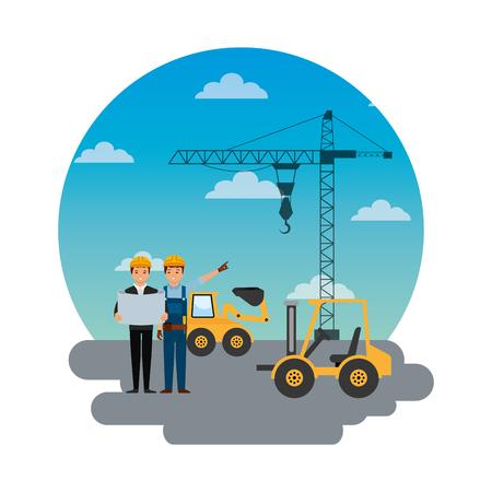 construction workers engineer foreman truck forklift excavator crane round sky design vector illustration Illustration