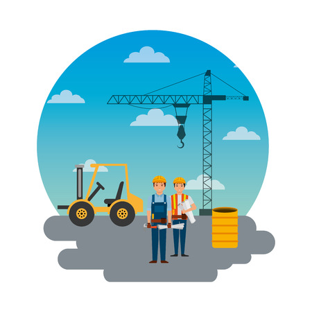 construction workers truck crane barrel and round sky design vector illustration