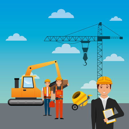 construction workers loading machine mixer concrete crane sky background vector illustration Illustration
