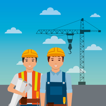 construction workers with helmet crane on sky background vector illustration Çizim