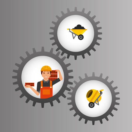 construction worker inside mechanical gear and tools vector illustration Illustration