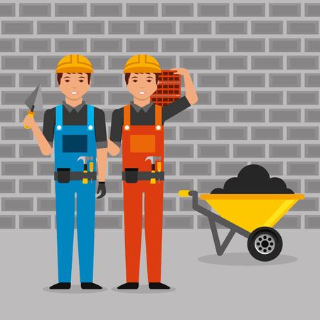 construction workers with helmet overalls spatula bricks wheelbarrow vector illustration