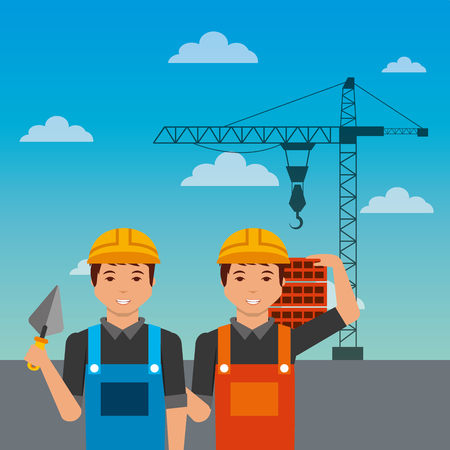 construction workers with spatula bricks crane on sky background vector illustration Illustration
