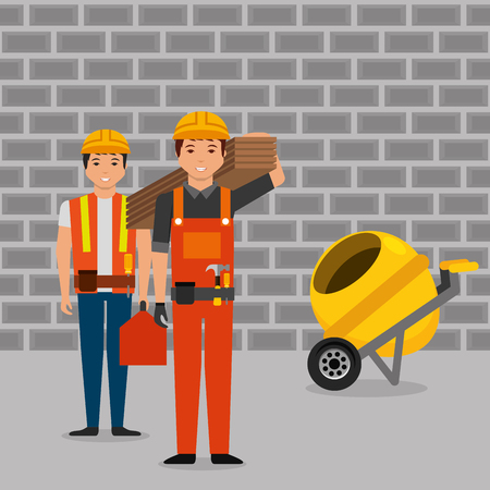 construction workers wooden board toolkit and mixer concrete wall brick gray vector illustration Vettoriali