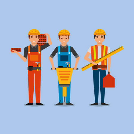 construction workers with jackhammer bricks toolkit vector illustration