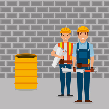 construction workers holding blueprint hammer barrel and wall brick vector illustration