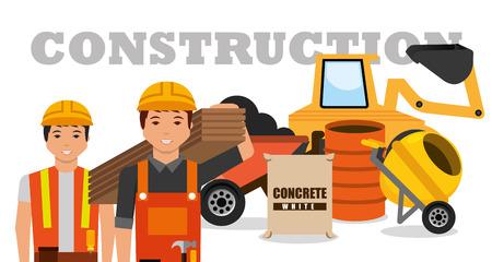 建設労働者機械手押し列ミキサーコンクリートバレルベクトル図  イラスト・ベクター素材