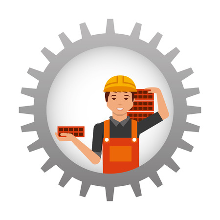 construction worker carrying bricks inside gear vector illustration