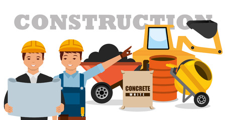 construction workers machinery wheelbarrow mixer concrete barrel vector illustration Stok Fotoğraf - 95613528
