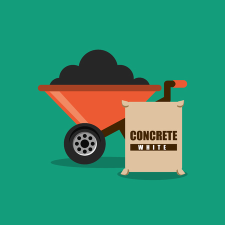 construction wheelbarrow and sack concrete   vector illustration Ilustração