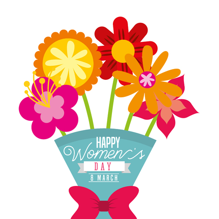 cartoon bouquet exotic flowers womens day card vector illustration Illustration