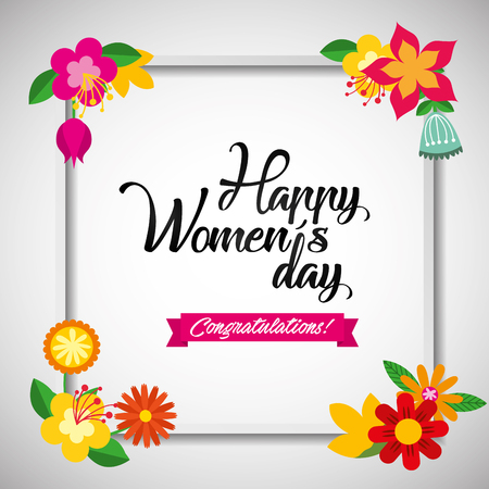 Floral greeting card. March 8. Happy Womens Day. flowers cutting out pieces of paper