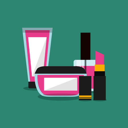 set of makeup cosmetic womens vector illustration