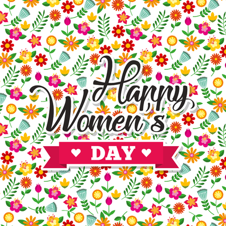 cute floral decoration flowers happy womens day background vector illustration Ilustrace