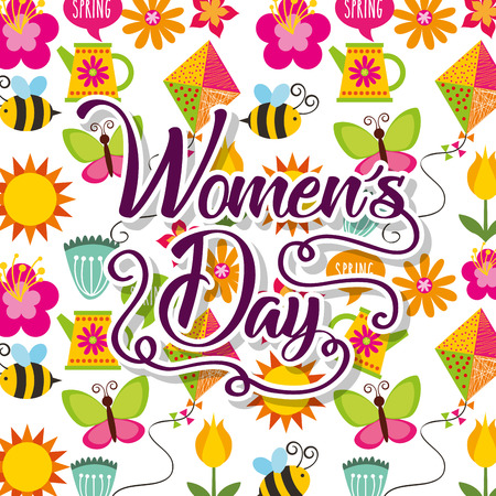 decorative flowers bee spring butterfly sun womens day wallpaper vector illustration Illustration