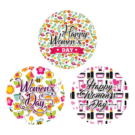 round label decoration floral make up womens day celebration vector illustration