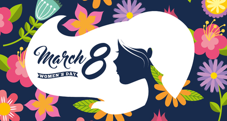 white silhouette woman head hair womens day 8 march floral background vector illustration Standard-Bild - 95613660