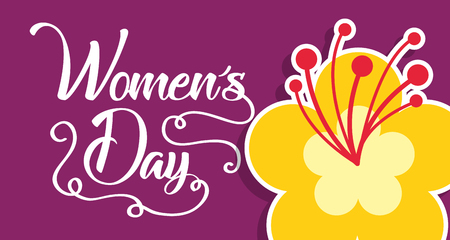 hibiscus flower decoration womens day card vector illustration