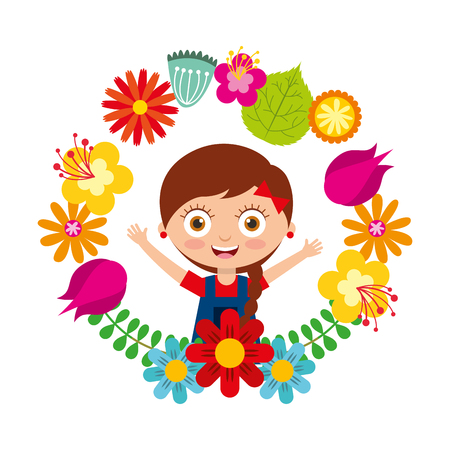 cute girl with braid hair and arms open smiling in floral wreath vector illustration