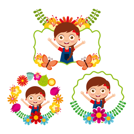 differents label cute girl happy flowers floral decoration vector illustration Illustration