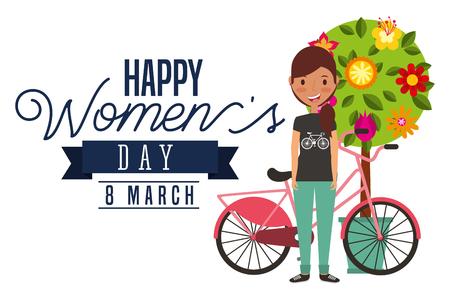 lächelndes Fahrrad und Baum des jungen Mädchens blüht Vektorillustration der glücklichen Frauen der Dekorationskarte Tages
