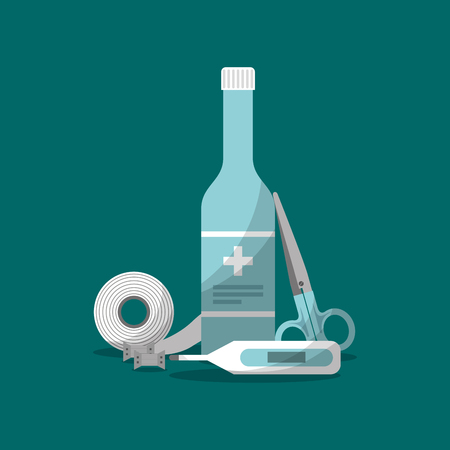 first aid medicine bottle, thermometer, scissors and band vector illustration Ilustração