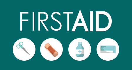 first aid kit utilities medical vector illustration  イラスト・ベクター素材