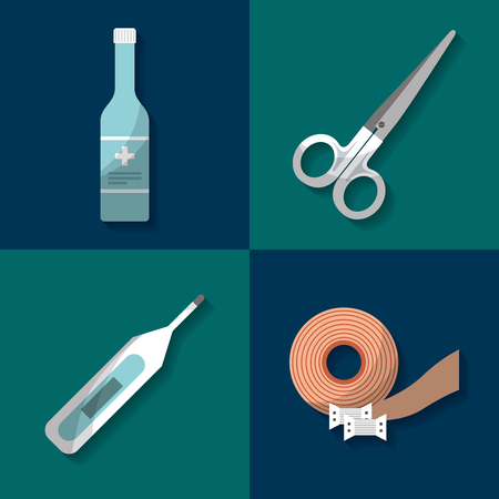 first aid kit scissors thermometer band bottle medical health vector illustration