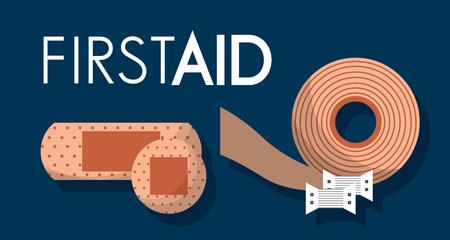 first aid kit plaster bandage medical health vector illustration