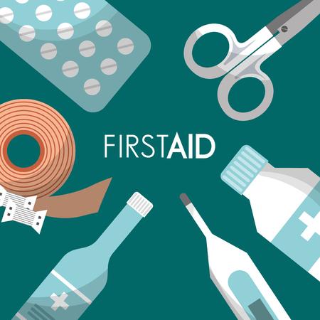 first aid kit pills scissors thermometer bottle medical health vector illustration Foto de archivo - 95603459