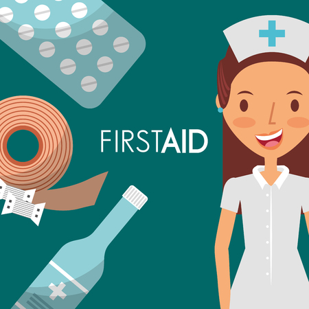 nurse first aid supplies elements vector illustration