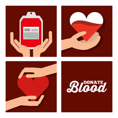 donate blood set medical healthycare vector illustration Illustration