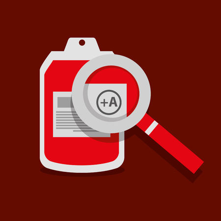 bag blood magnifier donation healthy vector illustration