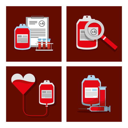 donate blood equipment supplies medical objects set vector illustration