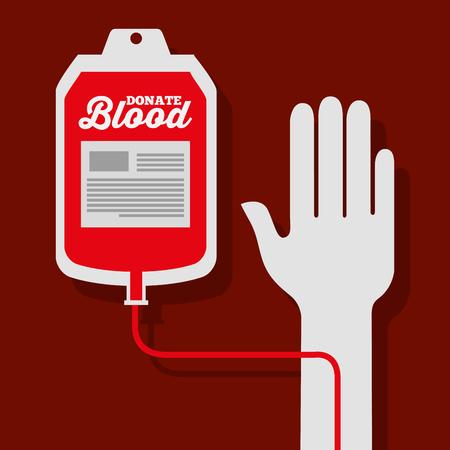 hand with iv bag blood donation medicine vector illustration