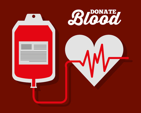 IV blood bag heart rate donate symbol vector illustration