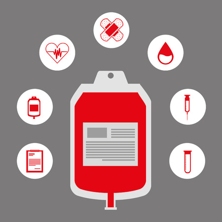 donate blood donor service plastic bag red icons vector illustration vector illustration