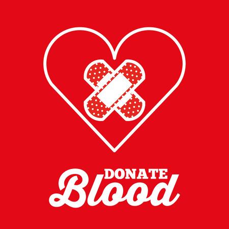 heart and plaster cross donate blood red background vector illustration Illustration