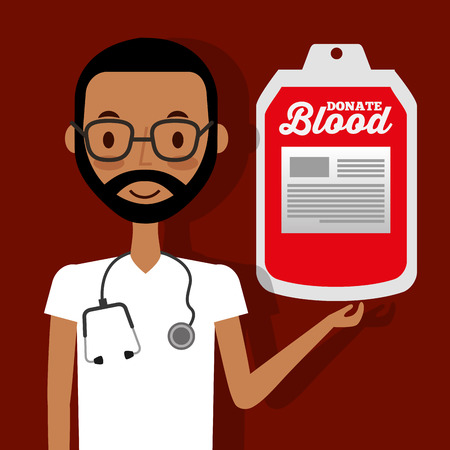 doctor with stethoscope holding blood bag donate vector illustration Illustration