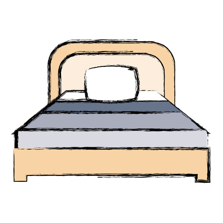 comfortable bed with pillows vector illustration design