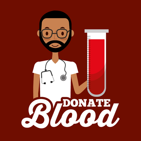 doctor staff medical holding test tube donate blood vector illustration