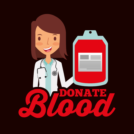doctor professional holding bag blood donate vector illustration Illustration