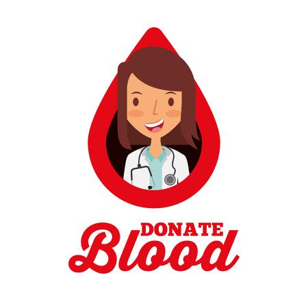 doctor in drop donate blood volunteer vector illustration