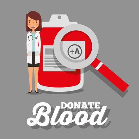 doctor stethoscope and blood bag magnifier vector illustration