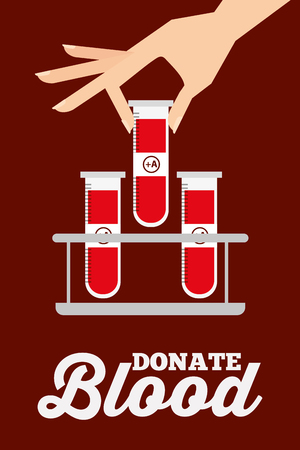 female hand with test tubes on rack donate blood vector illustration Stock Illustratie